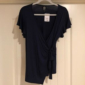 Navy Blue Front-tie Blouse